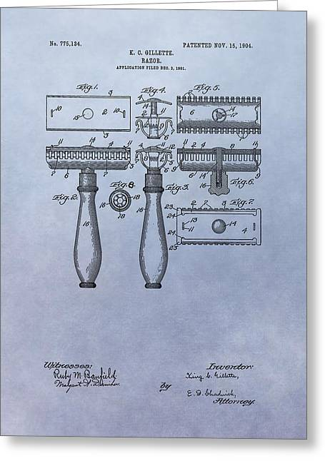Personal Mixed Media Greeting Cards - Gillette Razor Patent Greeting Card by Dan Sproul