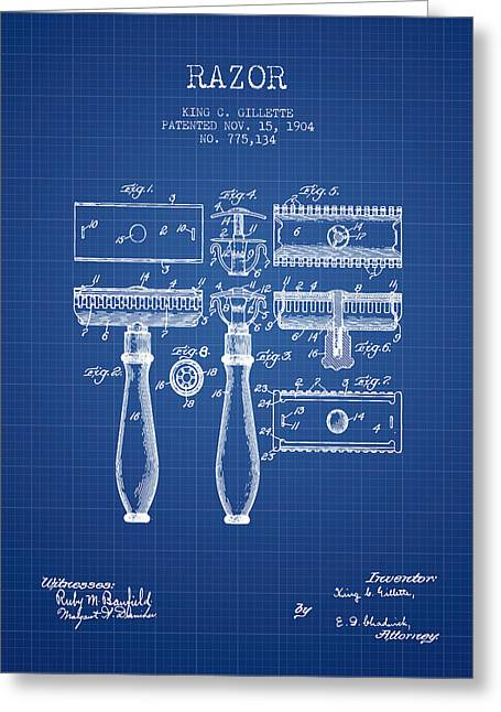 Shaving Greeting Cards - Gillette Razor Patent from 1904 - Blueprint Greeting Card by Aged Pixel