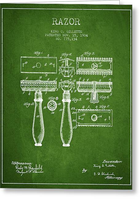 Shaving Greeting Cards - Gillette Razor Patent from 1904 - Green Greeting Card by Aged Pixel