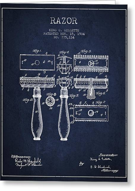 Shaving Greeting Cards - Gillette Razor Patent from 1904 - Navy Blue Greeting Card by Aged Pixel