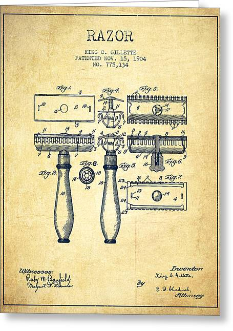 Shaving Greeting Cards - Gillette Razor Patent from 1904 - Vintage Greeting Card by Aged Pixel
