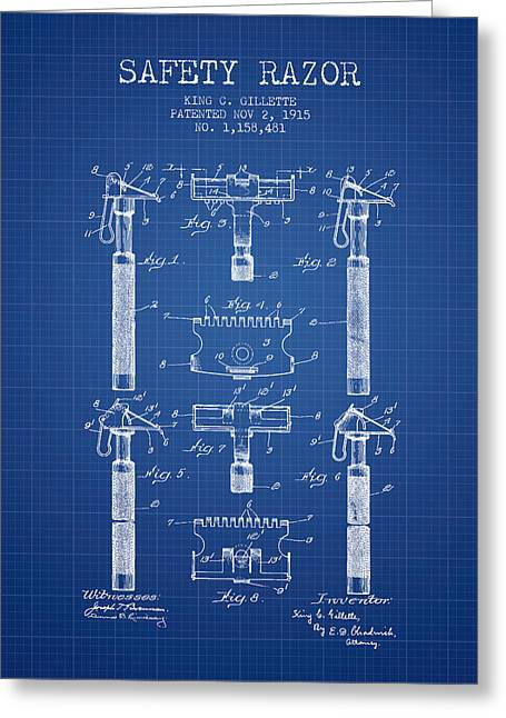 Shaving Greeting Cards - Gillette Safety Razor Patent from 1915 - Blueprint Greeting Card by Aged Pixel