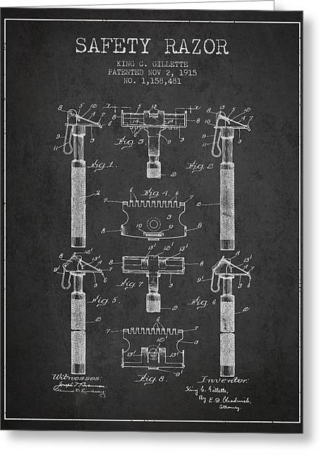 Shaving Greeting Cards - Gillette Safety Razor Patent from 1915 - Dark Greeting Card by Aged Pixel