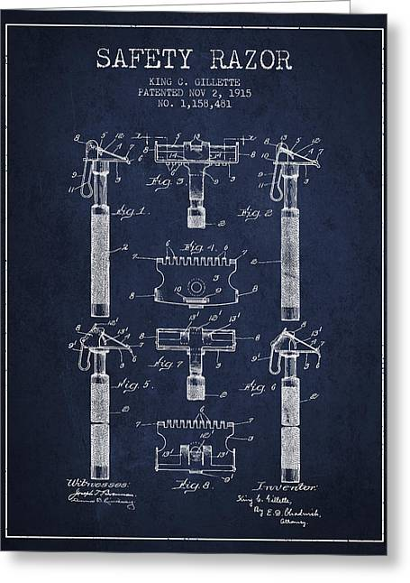 Shaving Greeting Cards - Gillette Safety Razor Patent from 1915 - Navy Blue Greeting Card by Aged Pixel