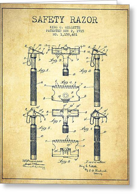 Shaving Greeting Cards - Gillette Safety Razor Patent from 1915 - Vintage Greeting Card by Aged Pixel