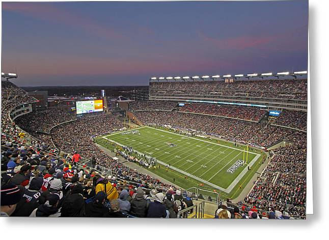Patriot League Greeting Cards - Gillette Stadium and New England Patriots Greeting Card by Juergen Roth