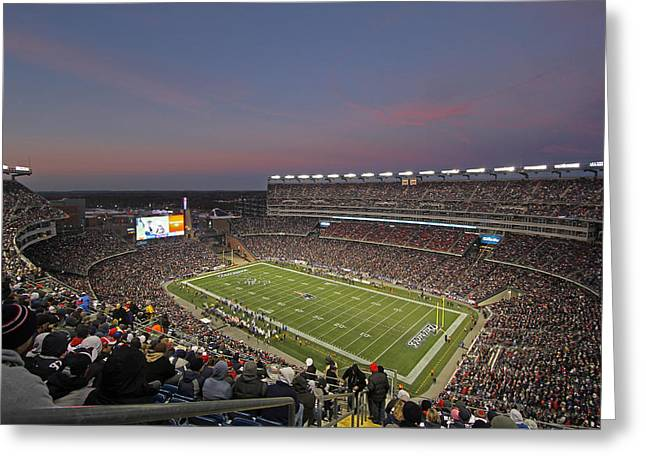 Foxboro Greeting Cards - Gillette Stadium in Foxboro  Greeting Card by Juergen Roth
