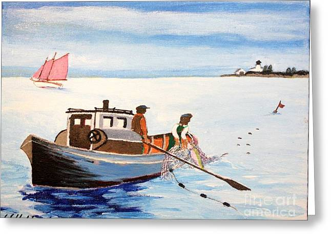 Beaver Drawings Greeting Cards - Gillnetter off Beaver Island- Michigan Greeting Card by Bill Hubbard