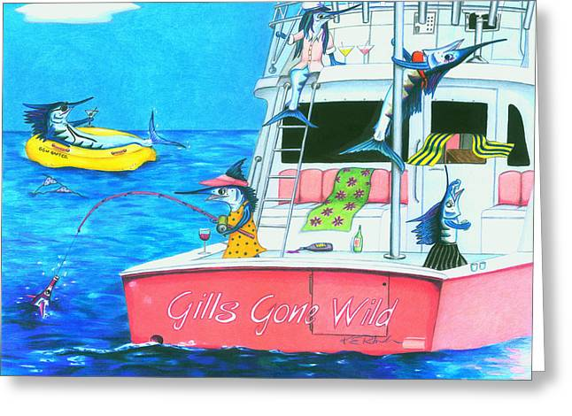 Transoms Greeting Cards - Gills Gone Wild Greeting Card by Karen Rhodes