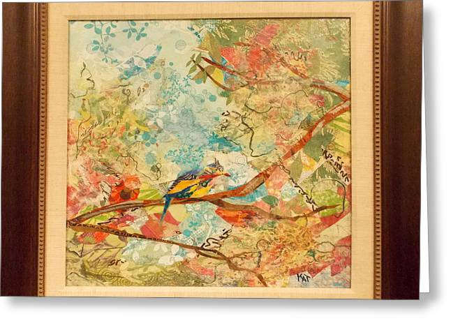 Kat Mixed Media Greeting Cards - Gilly Bird 2 Greeting Card by Kat Ebert