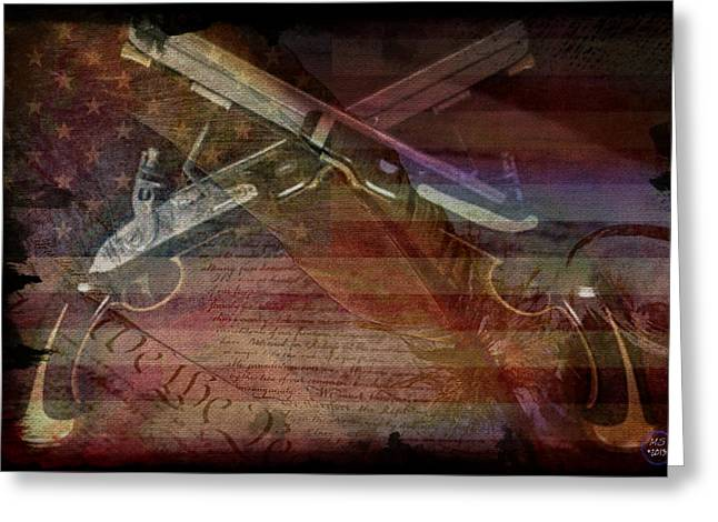 Voting Rights Greeting Cards - Gimme Back My Bullets Greeting Card by Absinthe Art By Michelle LeAnn Scott