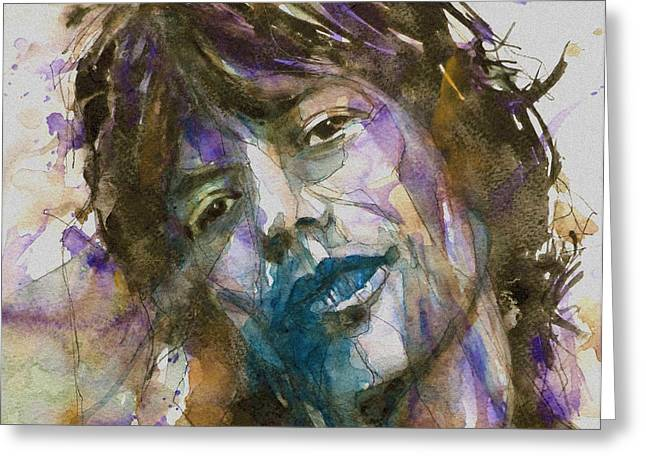 Jagger Greeting Cards - Gimmie Shelter Greeting Card by Paul Lovering