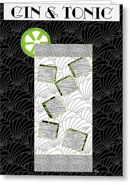Gin Greeting Cards - Gin and Tonic Cocktail Art Deco Swing   Greeting Card by Cecely Bloom
