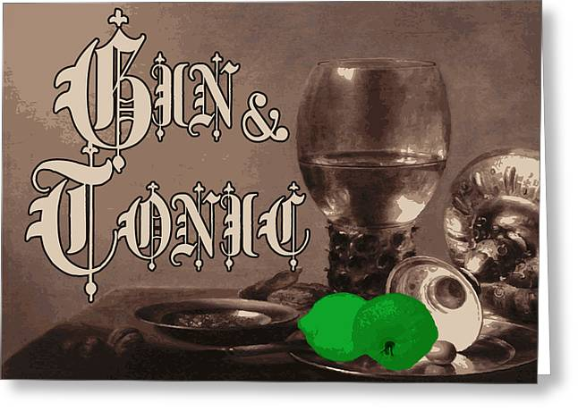 Gin and Tonic Vintage Advertisement With Lime Greeting Card by