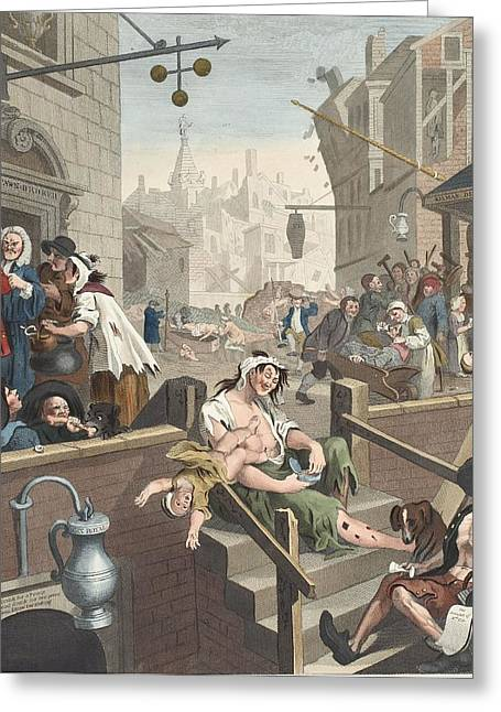 Broker Greeting Cards - Gin Lane, Illustration From Hogarth Greeting Card by William Hogarth