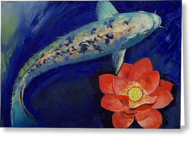 Water Lilly Greeting Cards - Gin Matsuba Koi and Lotus Greeting Card by Michael Creese