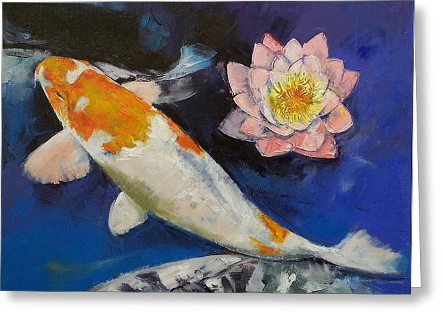 Fares Greeting Cards - Gin Rin Koi and Water Lily Greeting Card by Michael Creese