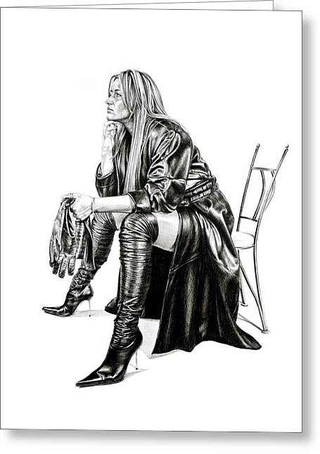 Leather Glove Drawings Greeting Cards - Gina in leather Greeting Card by Karl Hamilton-Cox