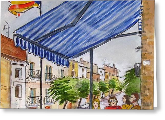 Catalunya Paintings Greeting Cards - Ginestar Bar Greeting Card by Molly Farr