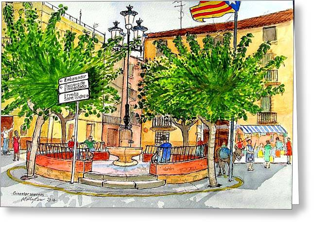 Catalunya Paintings Greeting Cards - Ginestar viernes Greeting Card by Molly Farr