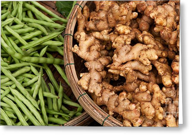 Fresh Food Greeting Cards - Ginger And Green Beans Greeting Card by Rick Piper Photography