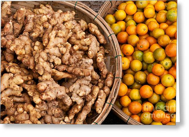 Fresh Food Greeting Cards - Ginger And Kumquats Greeting Card by Rick Piper Photography