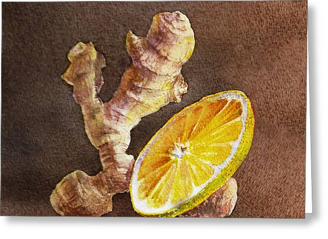 Sour Greeting Cards - Ginger And Lemon Greeting Card by Irina Sztukowski