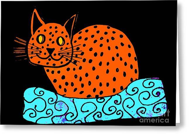 Cushion Drawings Greeting Cards - Ginger Cat On Black Greeting Card by Barbara Moignard