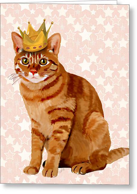 Cat Prints Digital Art Greeting Cards - Ginger cat with Crown Full Greeting Card by Kelly McLaughlan