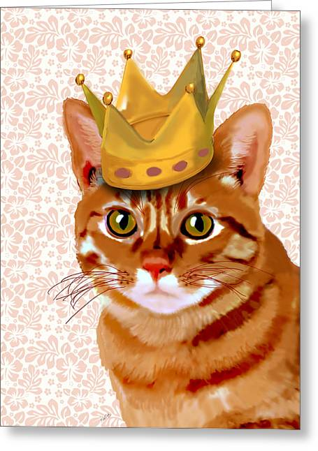 Cat Prints Digital Art Greeting Cards - Ginger cat with crown portrait Greeting Card by Kelly McLaughlan