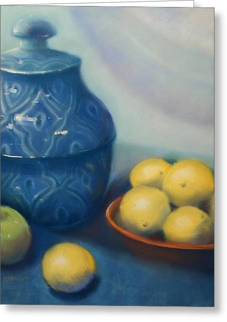 Red Photographs Pastels Greeting Cards - Ginger Jar with Lemons Greeting Card by Judy Albright