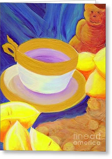 Ginger Lemon Tea By Jrr Greeting Card by First Star Art