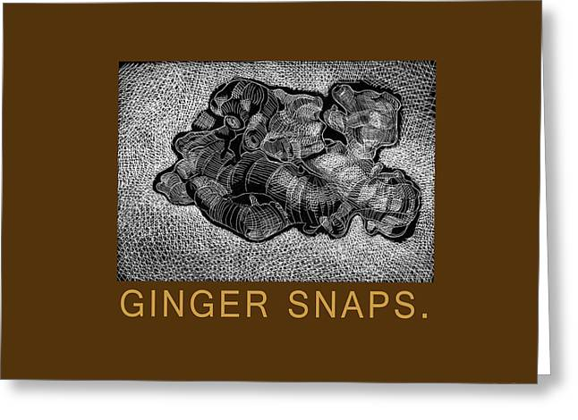 Golden Brown Drawings Greeting Cards - Ginger Snaps Greeting Card by Richard Glen Smith