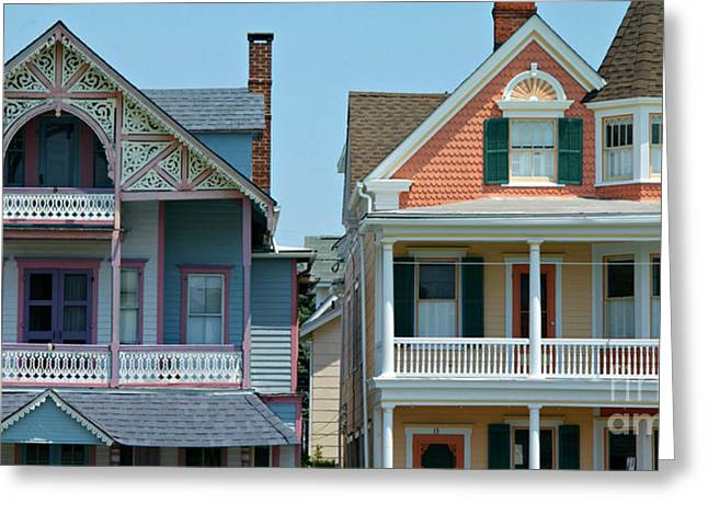 Victorian Home Greeting Cards - Gingerbread Beach Homes Pano - Ocean Grove NJ Greeting Card by Anna Lisa Yoder
