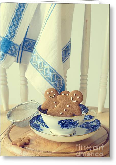Vintage Teacup Greeting Cards - Gingerbread Greeting Card by Amanda And Christopher Elwell