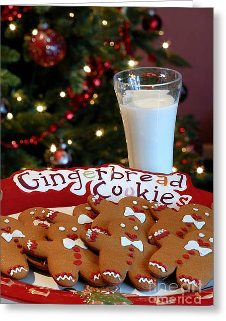 Milk And Cookies Greeting Cards - Gingerbread Cookies on Platter Greeting Card by Amy Cicconi