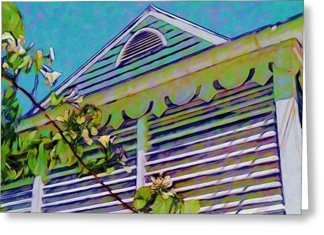 Clapboard House Paintings Greeting Cards - Gingerbread Eave Trim - Horizontal  Greeting Card by Lyn Voytershark
