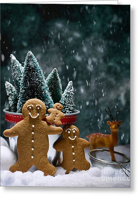 Fir Tree Greeting Cards - Gingerbread Family In Snow Greeting Card by Amanda And Christopher Elwell
