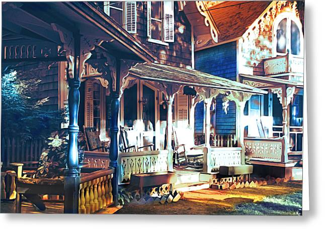 Picturesque Pyrography Greeting Cards - Gingerbread houses Greeting Card by Christo Christov
