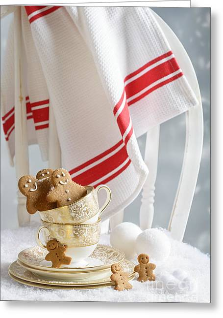 Vintage Teacup Greeting Cards - Gingerbread Men At Christmas Greeting Card by Amanda And Christopher Elwell