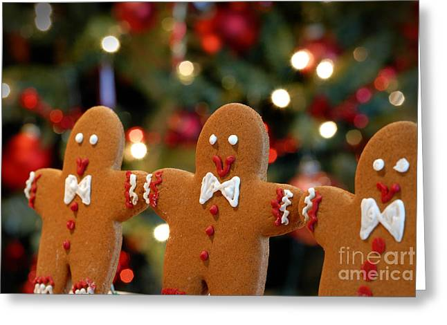 Arms Out Greeting Cards - Gingerbread Men in a Line Greeting Card by Amy Cicconi