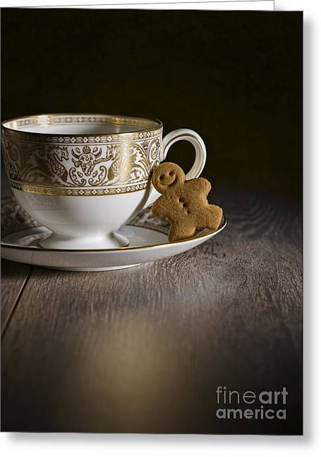 Gingerbread With Teacup Greeting Card by Amanda Elwell