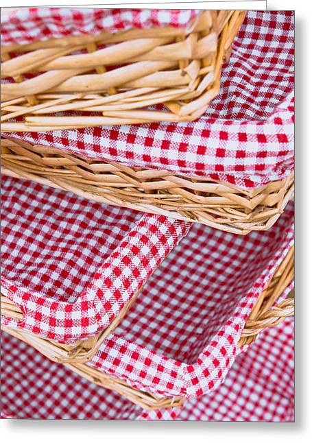 Lining Greeting Cards - Gingham baskets Greeting Card by Tom Gowanlock