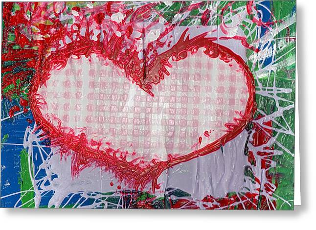 Esson Genevieve Esson Greeting Cards - Gingham Crazy Heart Shrink Wrapped Greeting Card by Genevieve Esson