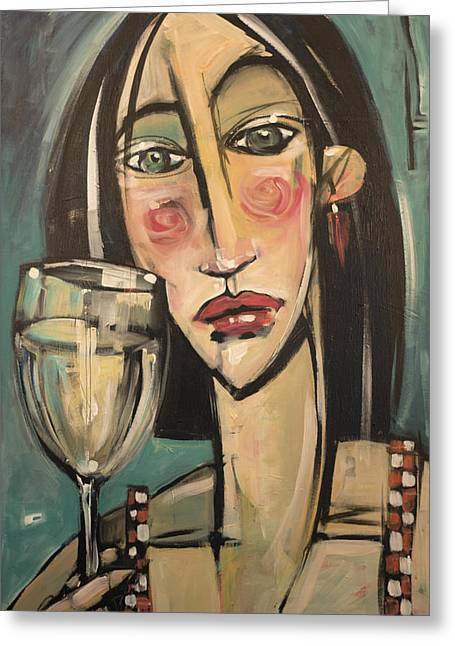 Straps Paintings Greeting Cards - Gingham Girl with Wineglass Greeting Card by Tim Nyberg