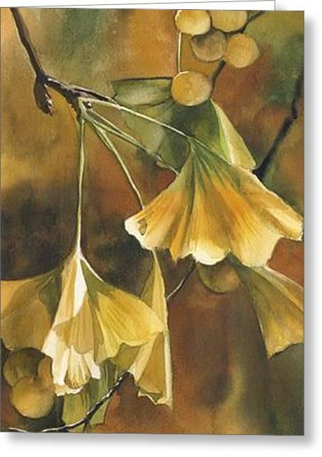 Alfred Ng Watercolor Greeting Cards - Gingko in Autumn Greeting Card by Alfred Ng