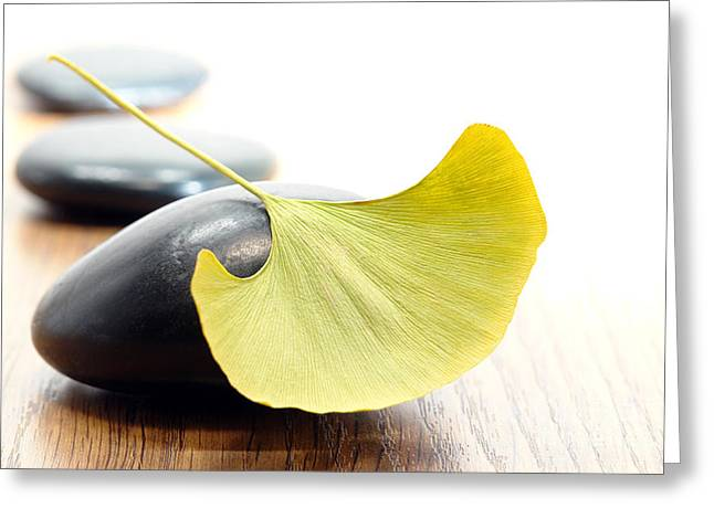 Treatment Greeting Cards - Ginkgo Leaf  Greeting Card by Olivier Le Queinec