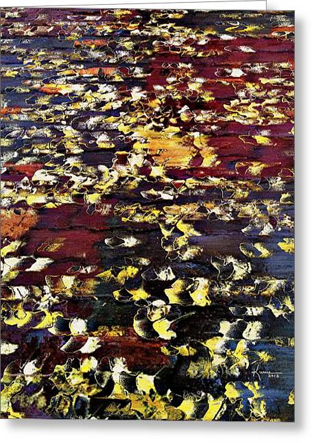 Fallen Leaf Mixed Media Greeting Cards - Ginkgo Leaves Greeting Card by Kume Bryant