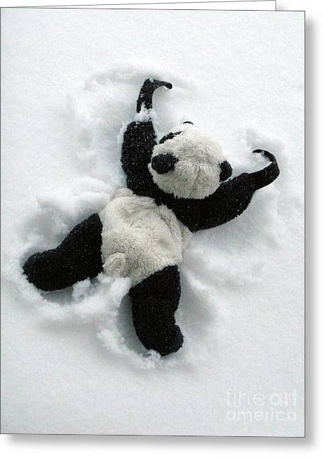 Book Cover Art Greeting Cards - Ginny The Baby Panda Making A Snow Angel Greeting Card by Ausra Paulauskaite