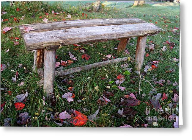 Newengland Greeting Cards - Ginnys Bench Greeting Card by Kerri Mortenson
